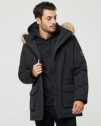 Hooded Viscose Blend Puffer Parka Coat