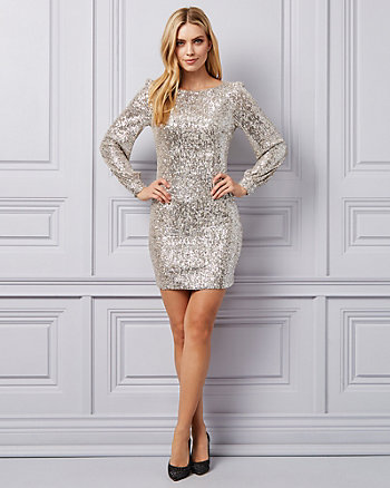 Sequin Scoop Neck Tunic Dress