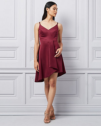 Scuba Knit Asymmetrical Fit & Flare Dress