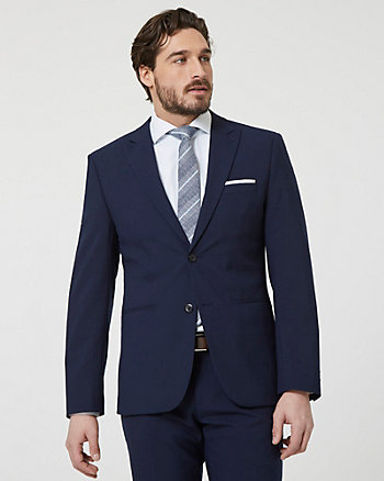 Tropical Wool Peak Lapel Blazer