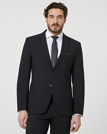 Tropical Wool Notch Collar Blazer