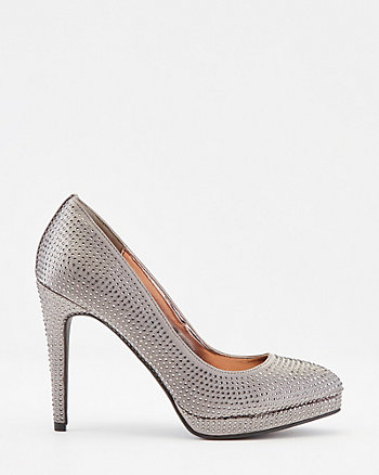 Jewel Embellished Satin Platform Pump
