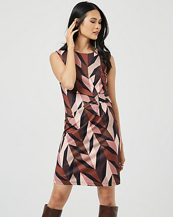 Geo Print Knit Twill Crew Neck Dress