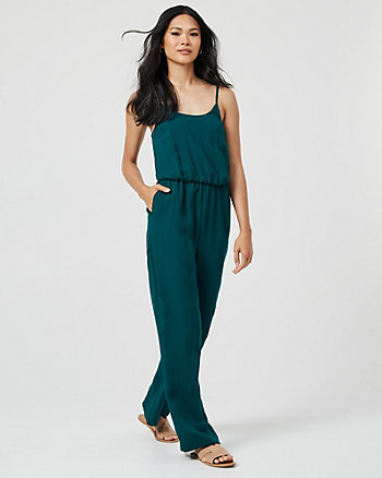 Linen-Like Wide Leg Jumpsuit