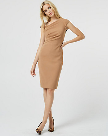 Ponte Knit Asymmetrical Neck Dress