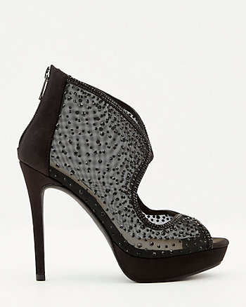 Jewel Embellished Mesh & Satin Shootie