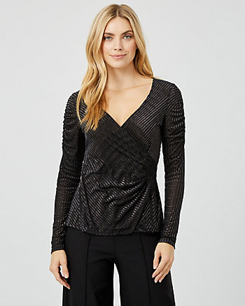Metallic Knit Wrap-Like Top