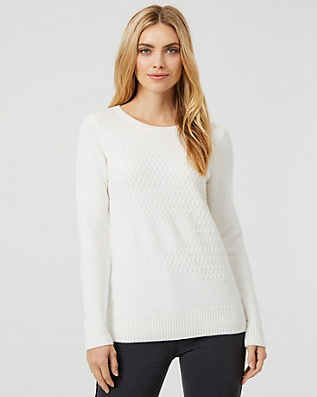 Textured Knit Crew Neck Sweater