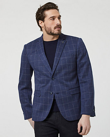 Windowpane Check Print Notch Collar Blazer