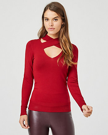 Knit Criss-Cross V-Neck Sweater