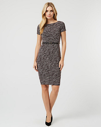 Bouclé Belted Crew Neck Dress