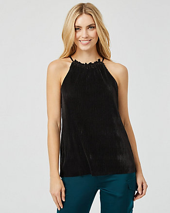 Pleated Halter Neck Top