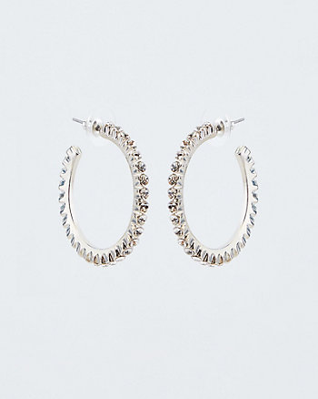 36mm Gem Encrusted Hoop Earrings