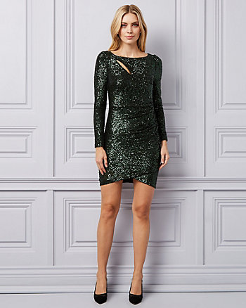 Sequin Boat Neck Dress