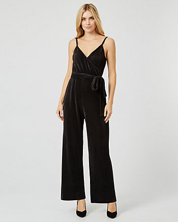Pleated Wrap-Like Wide Leg Jumpsuit
