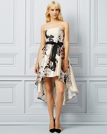 Floral Print Twill Strapless Dress
