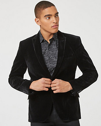 Velvet Notch Collar Slim Fit Blazer