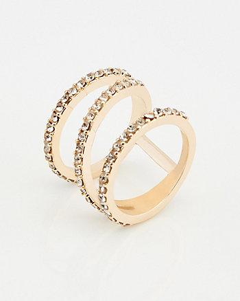Bague à anneaux entrecroisés et pierres