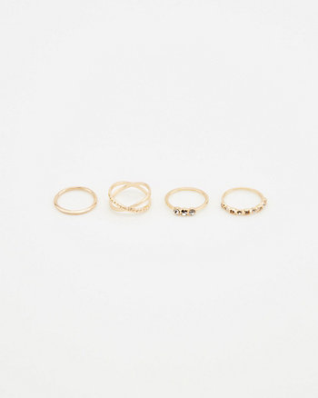 Set of Four Gem Rings