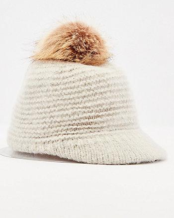 Rib Knit Pom Pom Beanie Hat