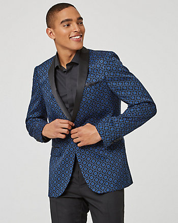Geo Print Knit Slim Fit Blazer