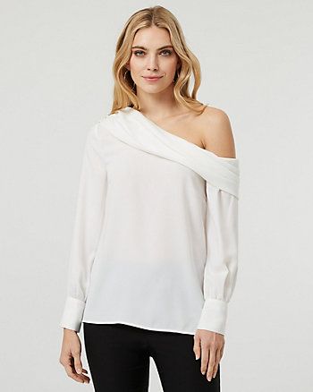 Crêpe de Chine One Shoulder Blouse