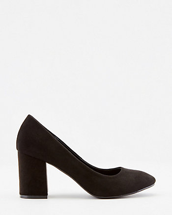 Faux Suede Square Toe Pump