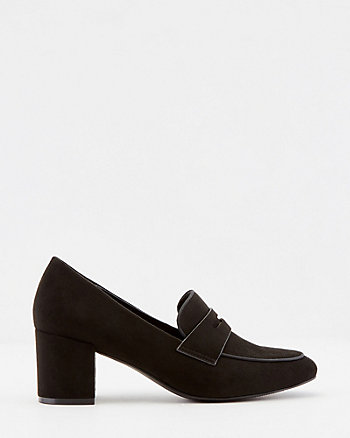 Faux Suede Square Toe Loafer Pump