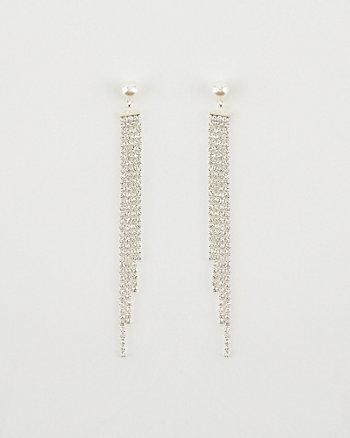 Faux Pearl & Gem Fringe Earrings