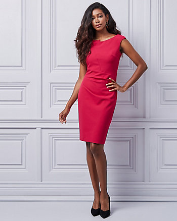 Bi-Stretch Boat Neck Dress