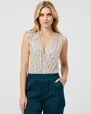 Sequin & Mesh Wrap-Like Bodysuit Top