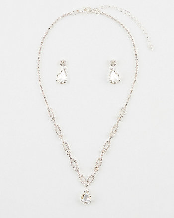 Gem Teardrop Earrings & Necklace Set