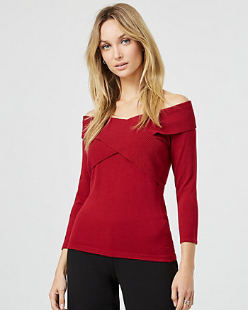 Knit Criss-Cross Off-The-Shoulder Sweater