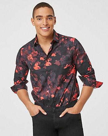 Chemise à motif floral en popeline de coton