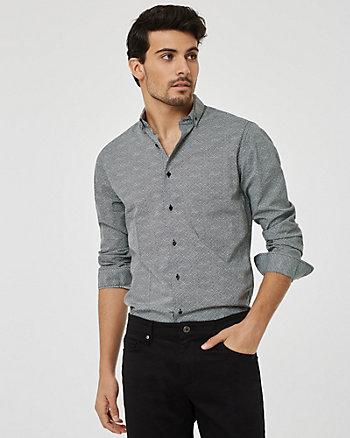 Chemise à motif géométrique en coton