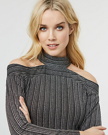 Stripe Sparkle Knit Mock Neck Cutout Top