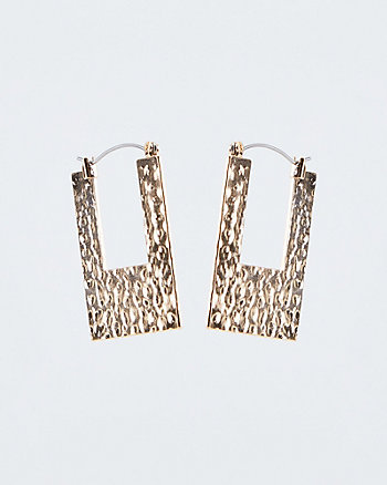 Hammered Metal Square Drop Earrings