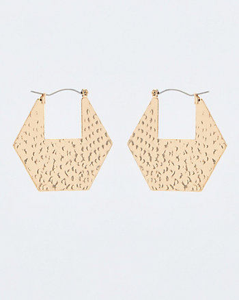 Hammered Metal Hexagon Drop Earrings