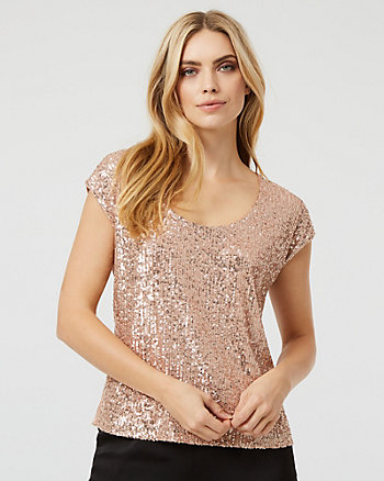 Sequin & Mesh Scoop Neck Top