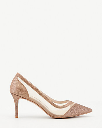 Glitter & Mesh Pointy Toe Pump