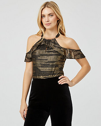 Metallic Knit Cold Shoulder Ruffle Top