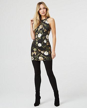 Floral Print Foil Knit Halter Tunic Top