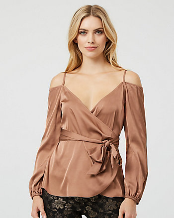 Satin Cold Shoulder Wrap-Like Blouse