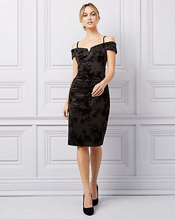 Flocked Scuba Knit Off-The-Shoulder Dress