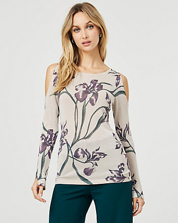 Floral Print Metallic Knit Cutout Sweater