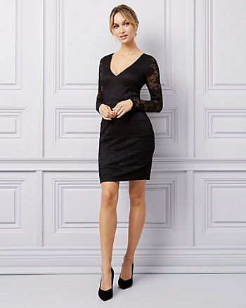 Lace & Knit V-Neck Dress