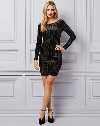 Sparkle Velvet Scoop Neck Dress
