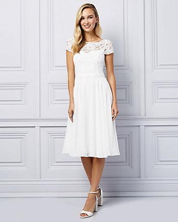 Lace & Chiffon Illusion Cocktail Dress