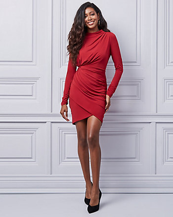Ruched Knit Crew Neck Wrap-Like Dress