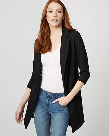 Ponte Knit Notch Collar Open Front Blazer